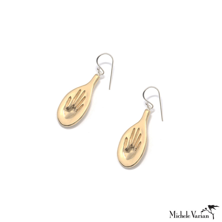 Brass Hands On Dangly Earrings