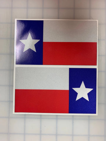 "5"" TEXAS 3M REFLECTIVE State Flag  Decal set"