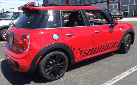 MINI Cooper 4 Door Checkered Flag Side Rocker Stripe Decal