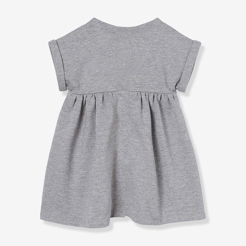 Dresses classic knit cotton girls short-sleeved