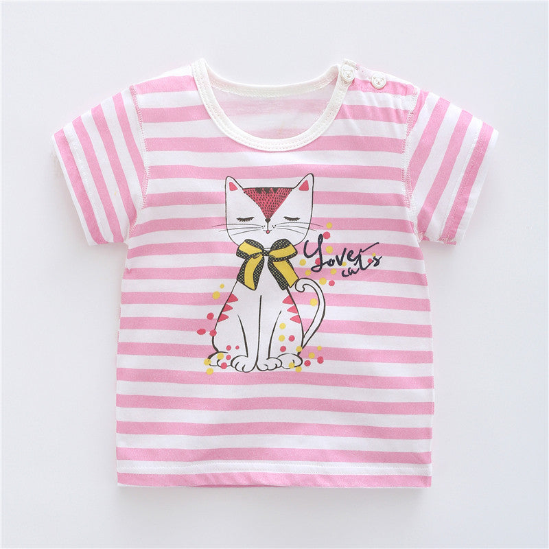 Children's clothing baby half sleeve cotton t-shirt Girls