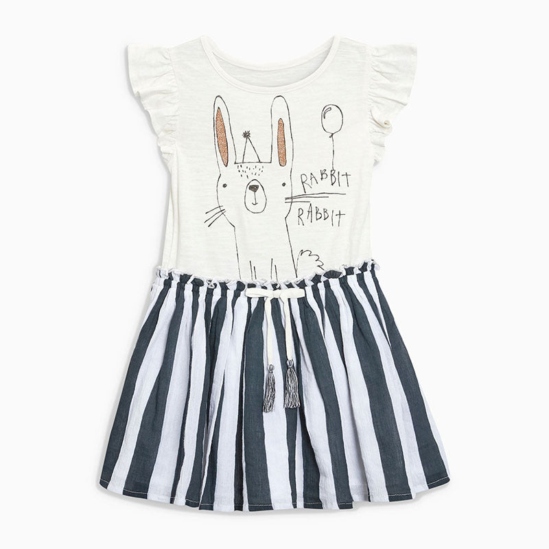 Girls dress cotton striped short-sleeved knit