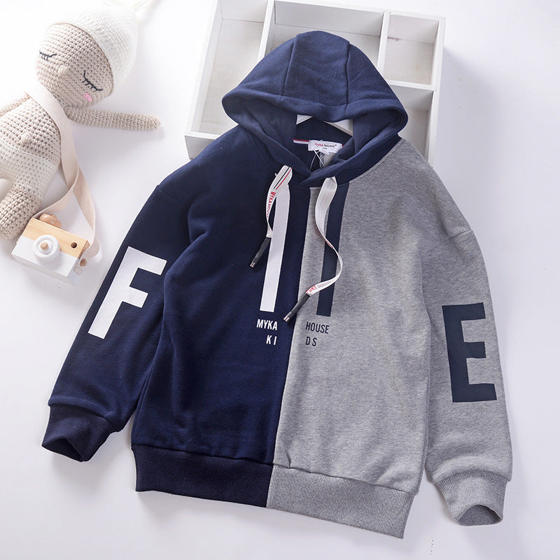 Boys hooded sweater casual cotton