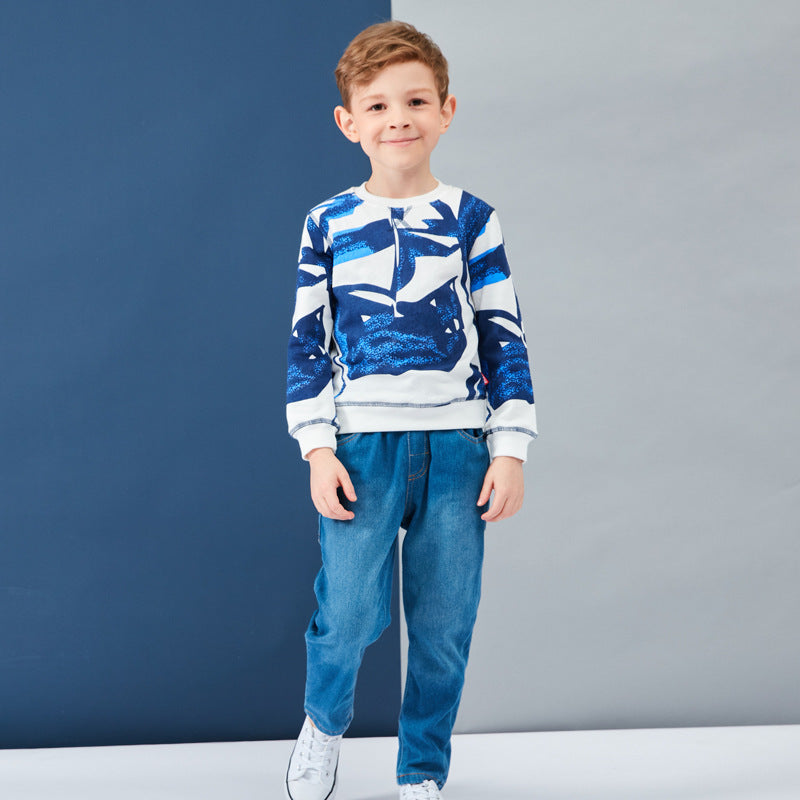 Big children's sweater cotton  blue and white