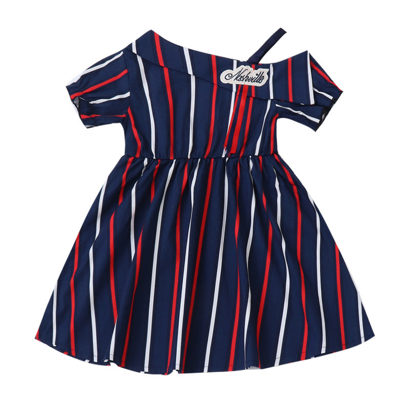 Girls Dress Shoulder Vertical Stripes