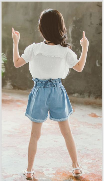 Doll collar short-sleeved shirt + shorts two-piece