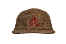 Load image into Gallery viewer, Front view of tweed sustainable eco wool five panel camper hat