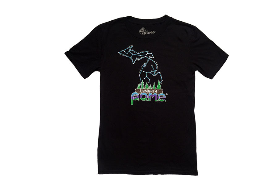 Front view of black UpNorth Michigan constellation t shirt