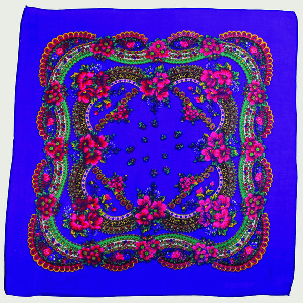 "Floral Scarf Royal Blue 30""x30"""