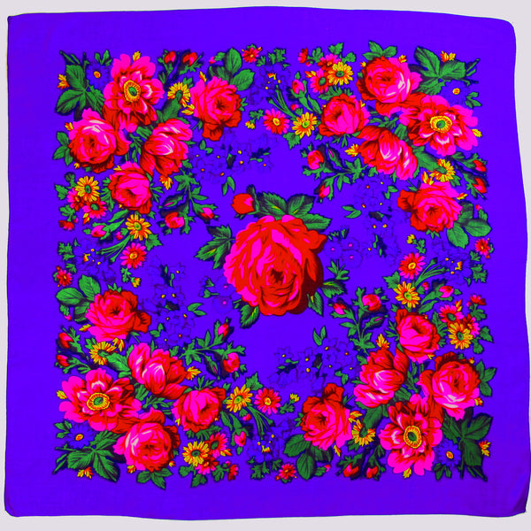 "X-Large Rose Scarf Purple 60""x60"""