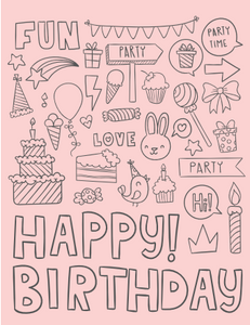 Sketches Pink Happy Birthday Card