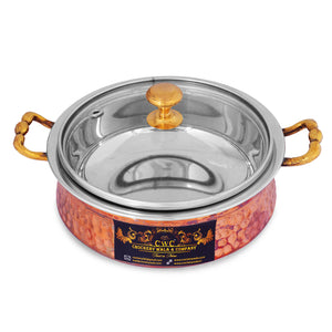 Crockery Wala and Company Hammered Steel Copper Handi Bowl with Glass Lid, Serveware & Tableware, 300 ML - Crockery Wala And Company