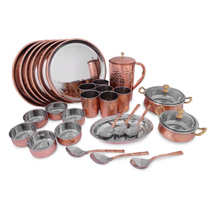 Crockery Wala And Company Royal Steel Copper Dinner Set 28 pcs - Crockery Wala And Company