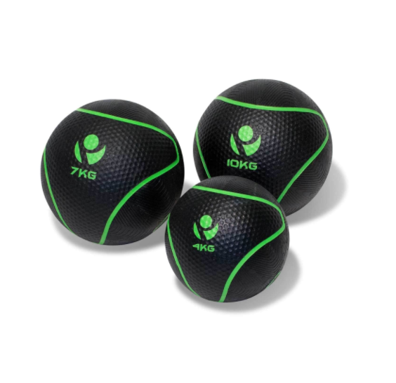 Three black and neon green slam balls.