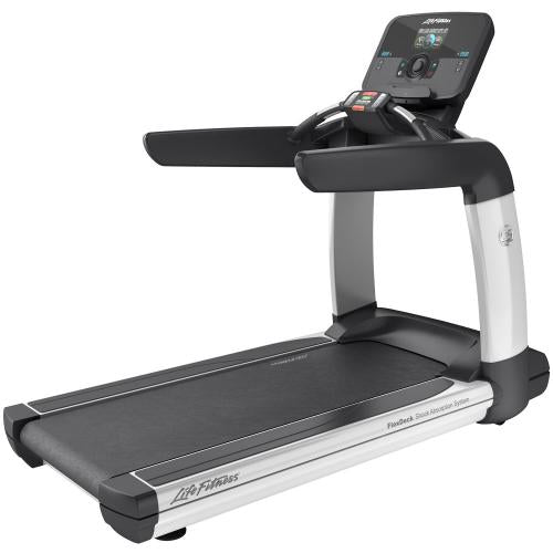 Elevation Series Treadmill with Explore Console with QuickNav Dial in Diamond White.