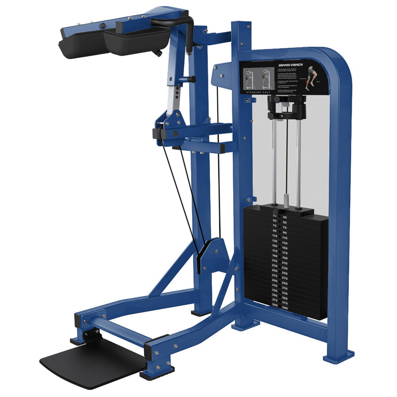 Hammer Strength Select Standing Calf in all blue.