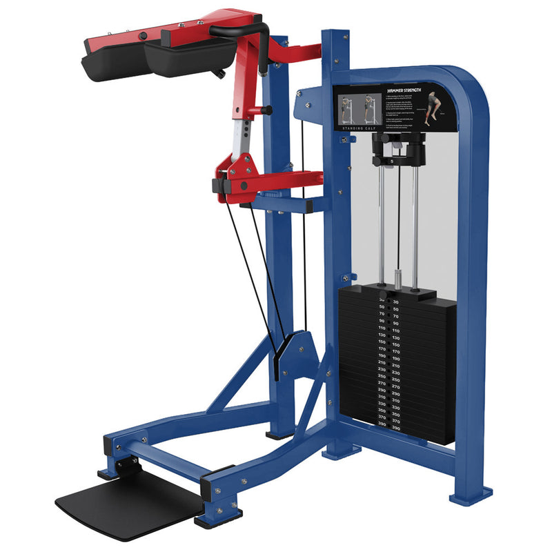 Hammer Strength Select Standing Calf in blue and red.
