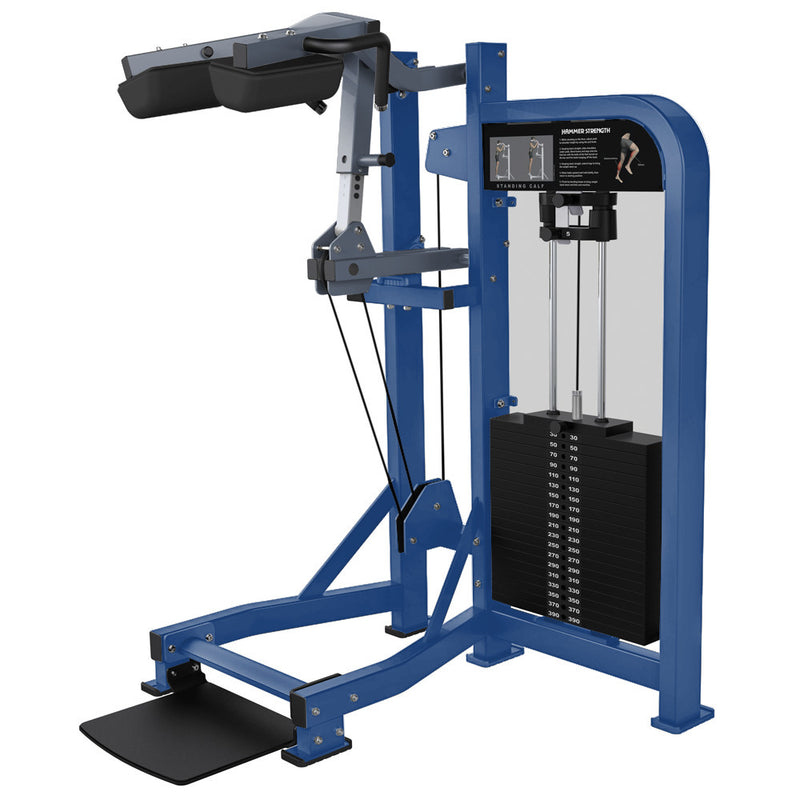 Hammer Strength Select Standing Calf in blue and ice blue metallic.