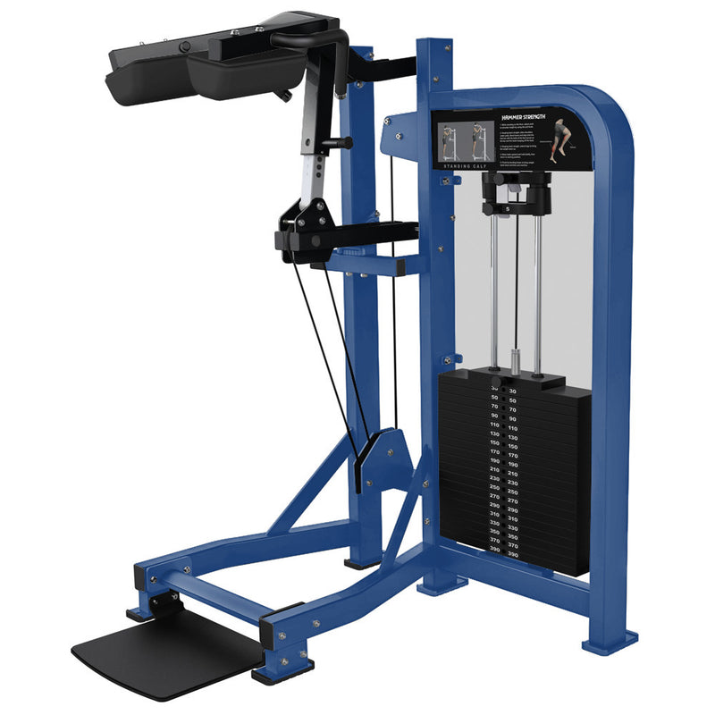 Hammer Strength Select Standing Calf in blue and black.