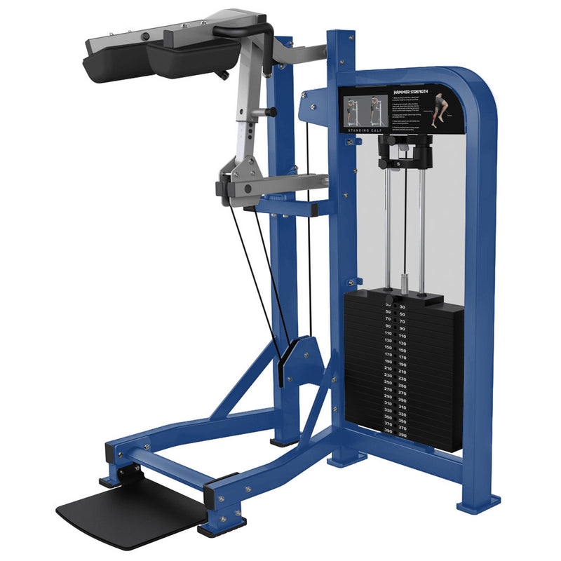 Hammer Strength Select Standing Calf in blue and platinum.