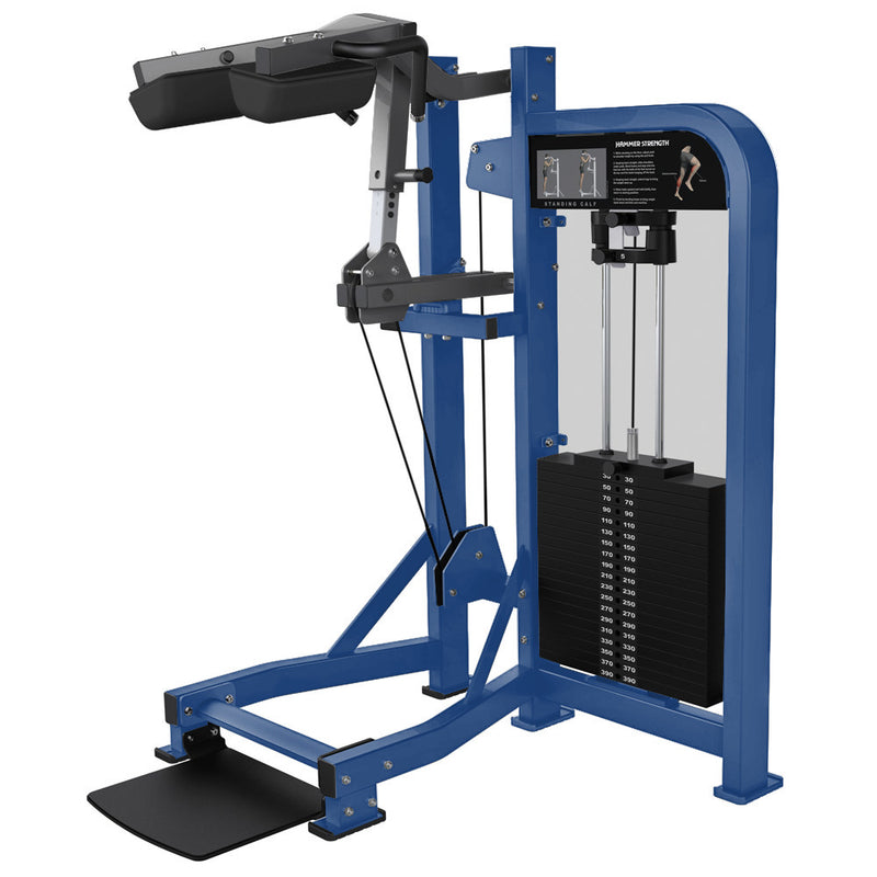 Hammer Strength Select Standing Calf in blue and titanium.