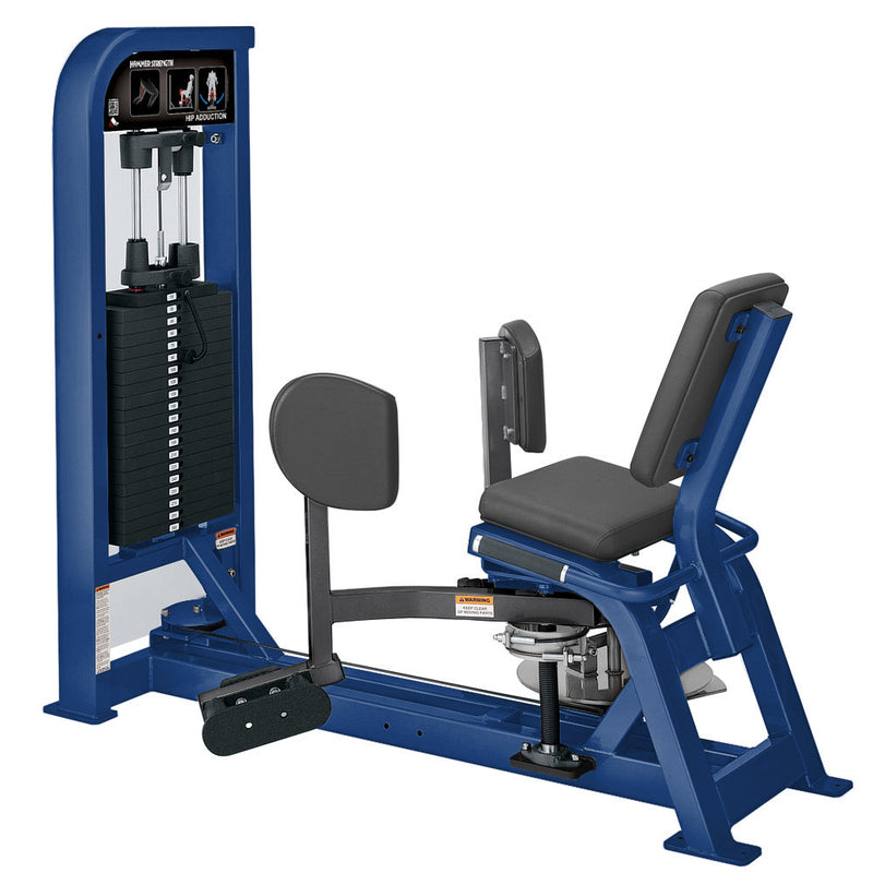 Hammer Strength Select Hip Adduction in blue and titanium.