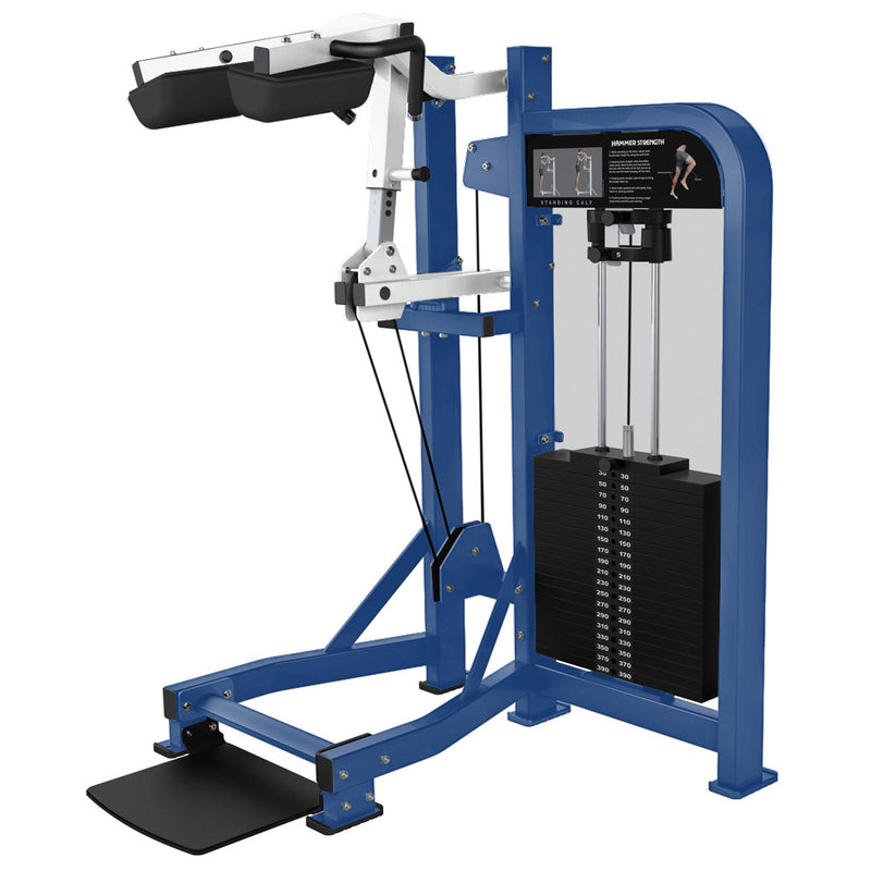 Hammer Strength Select Standing Calf in blue and white.