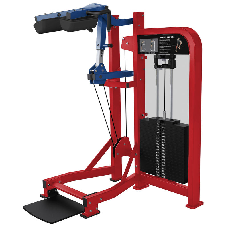 Hammer Strength Select Standing Calf in red and blue.