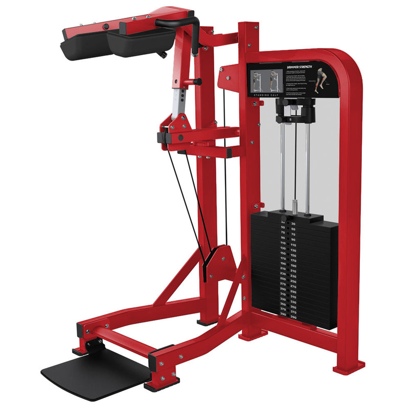Hammer Strength Select Standing Calf in all red.