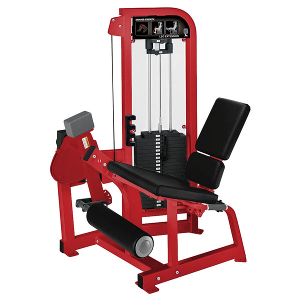 Hammer Strength Select Leg Extension in red with black leather.