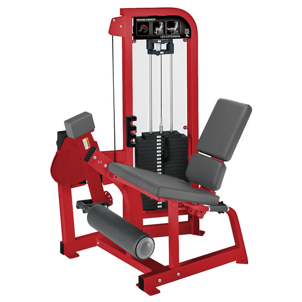 Hammer Strength Select Leg Extension in red with slate leather.