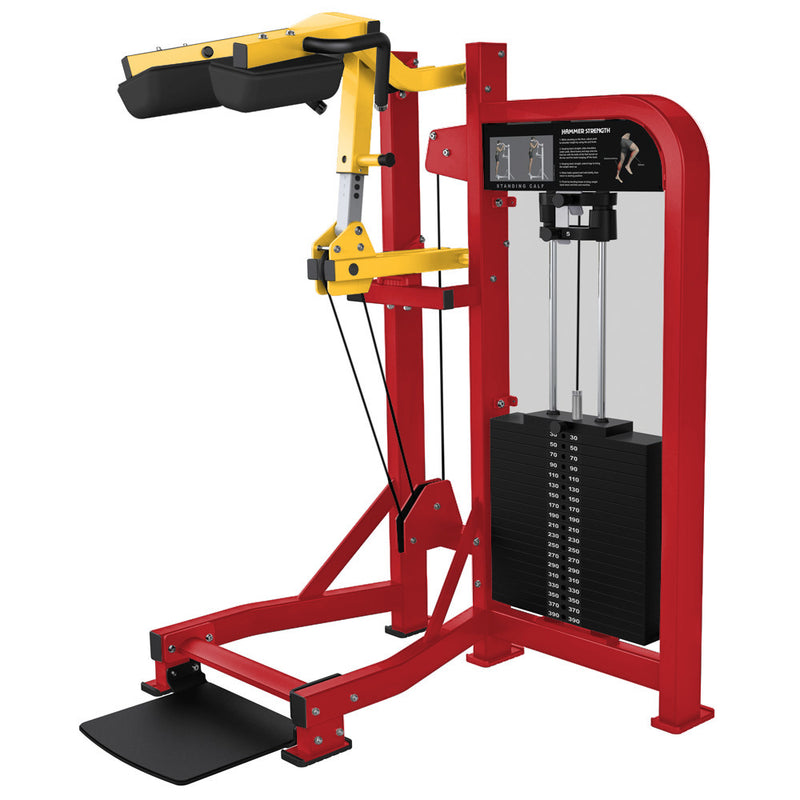Hammer Strength Select Standing Calf in red and yellow.