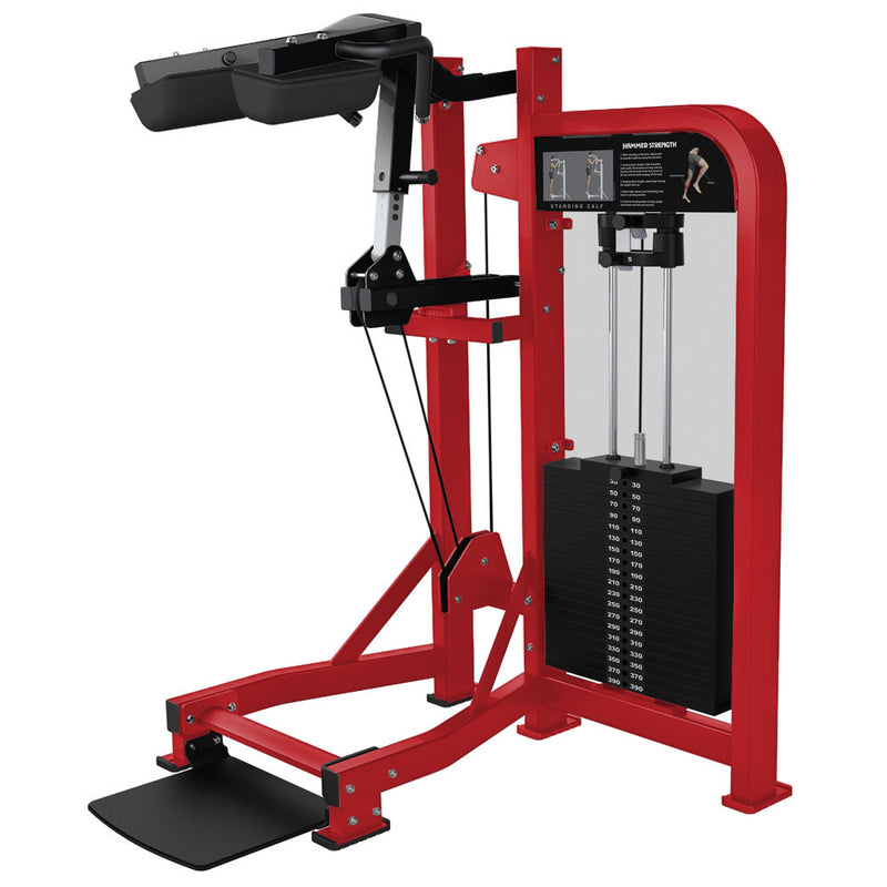 Hammer Strength Select Standing Calf in red and black.