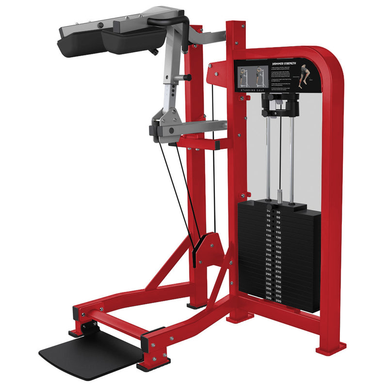 Hammer Strength Select Standing Calf in red and platinum.