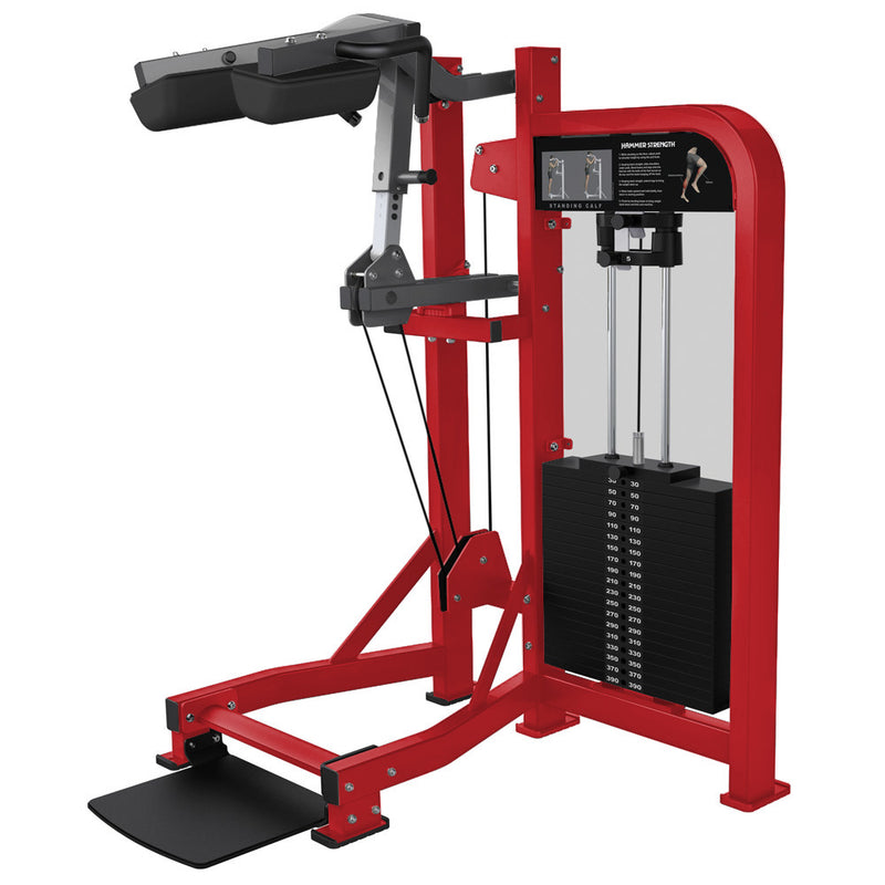 Hammer Strength Select Standing Calf in red and titanium.