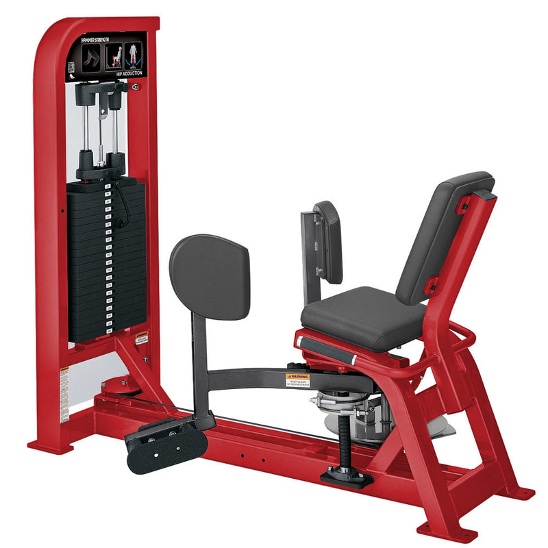 Hammer Strength Select Hip Adduction in red and titanium.