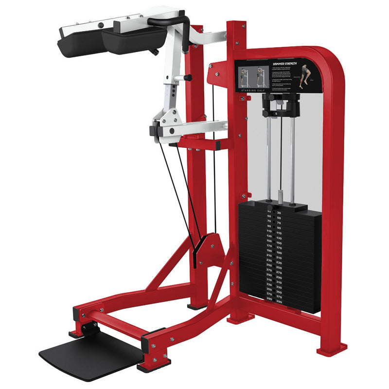 Hammer Strength Select Standing Calf in red and white.