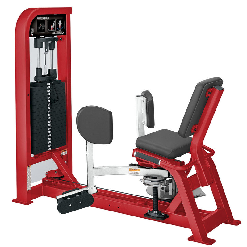 Hammer Strength Select Hip Adduction in red and white.
