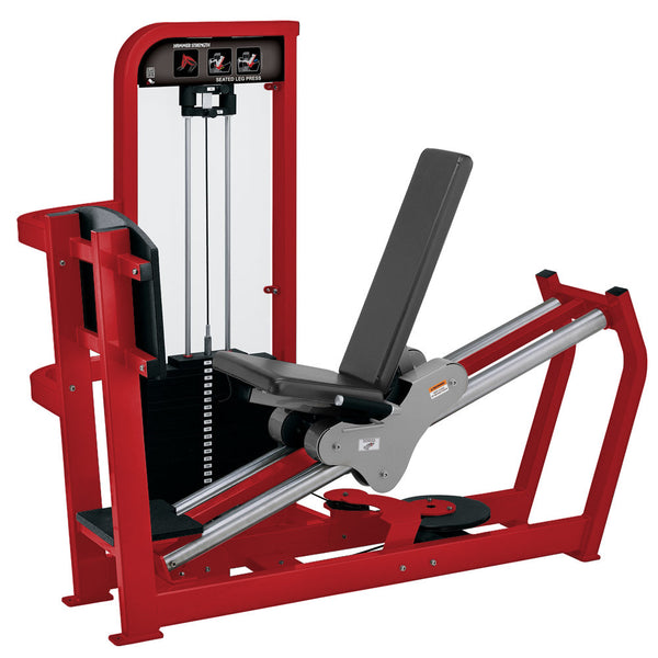 Hammer Strength Select Seated Leg Press in red with slate leather.
