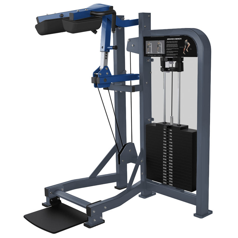 Hammer Strength Select Standing Calf in ice blue metallic and blue.