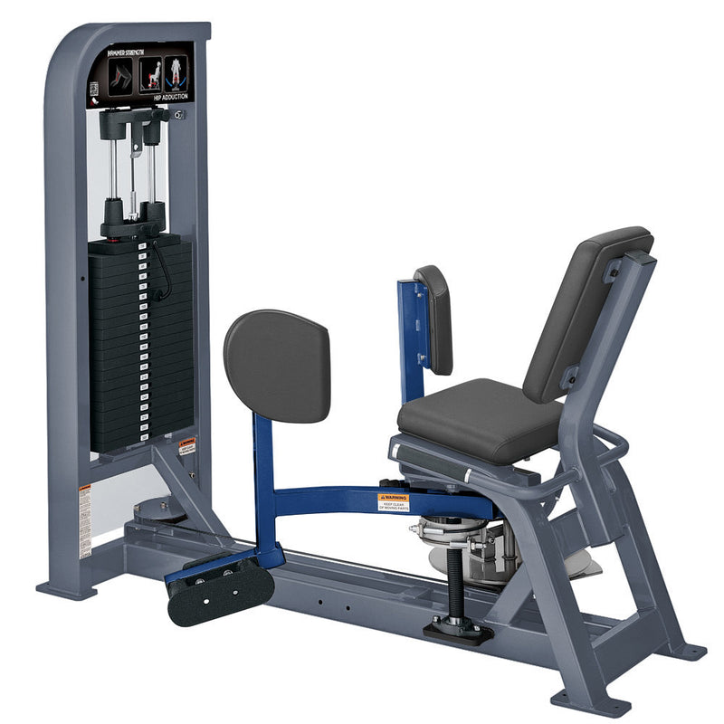Hammer Strength Select Hip Adduction in ice blue metallic and blue.