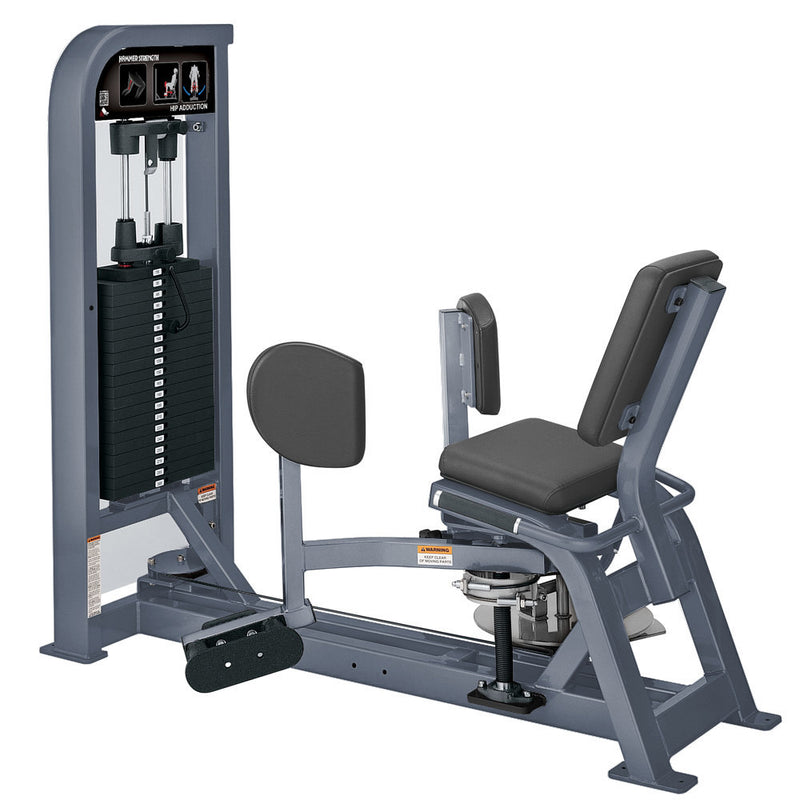 Hammer Strength Select Hip Adduction in all ice blue metallic.