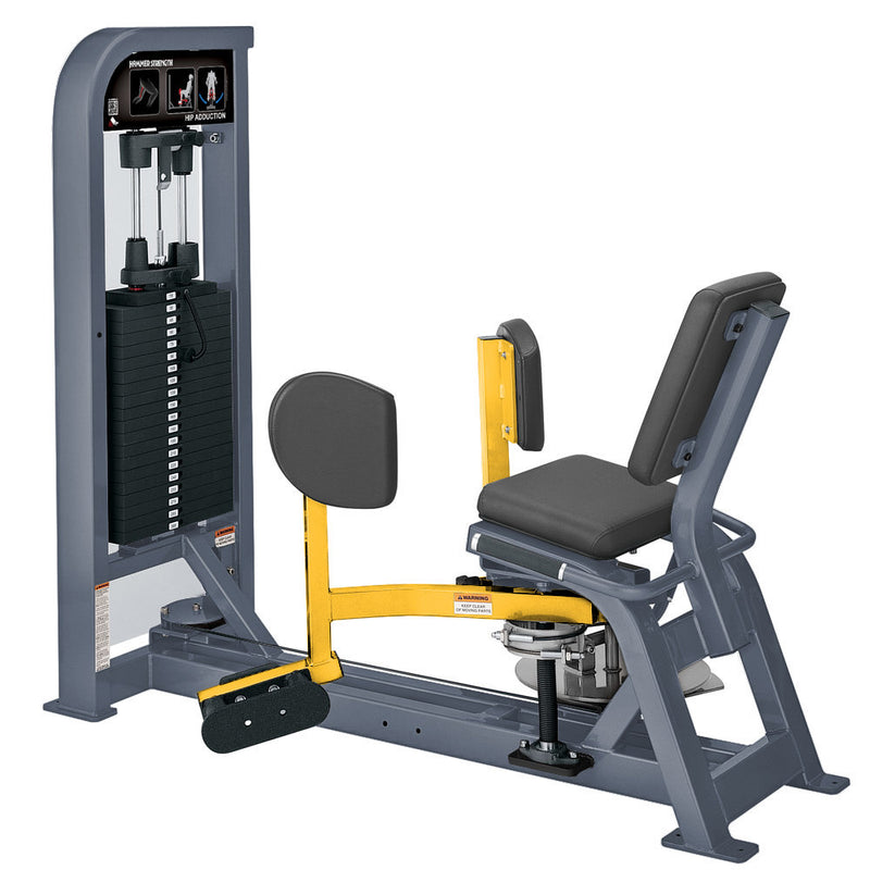 Hammer Strength Select Hip Adduction in ice blue metallic and yellow.