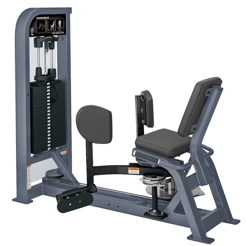 Hammer Strength Select Hip Adduction in ice blue metallic and black.