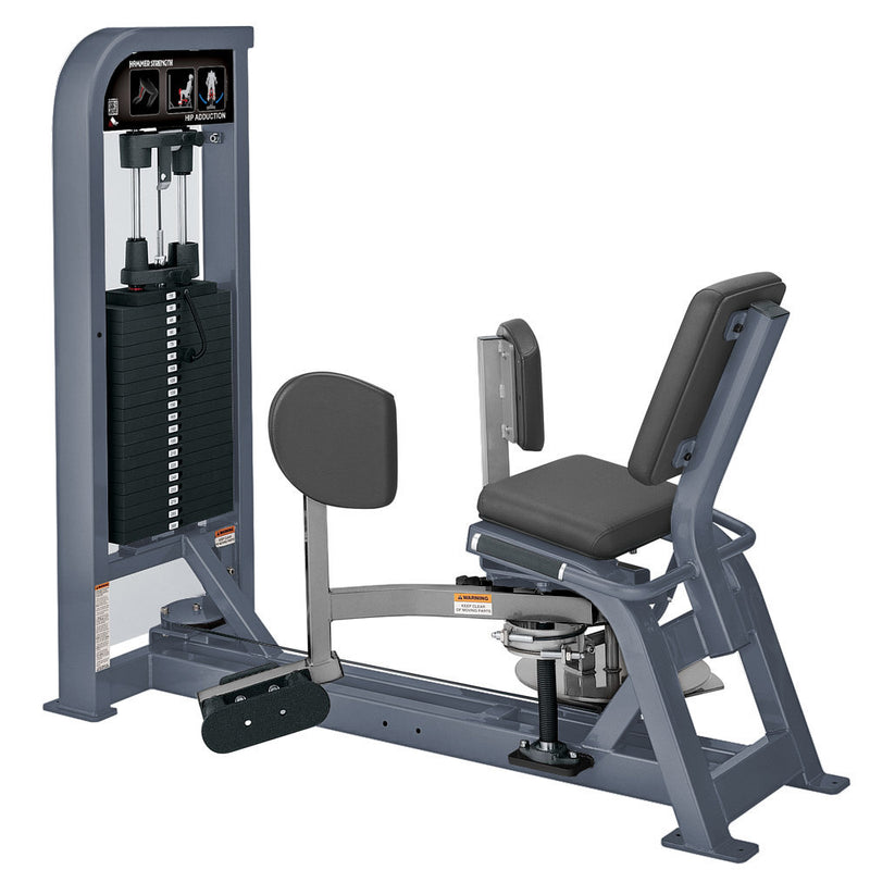 Hammer Strength Select Hip Adduction in ice blue metallic and platinum.