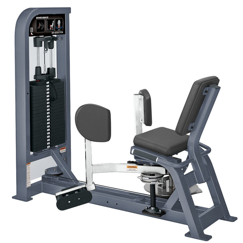 Hammer Strength Select Hip Adduction in ice blue metallic and white.