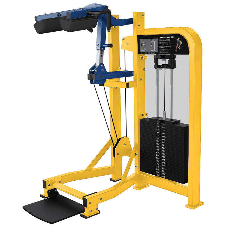 Hammer Strength Select Standing Calf in yellow and blue.