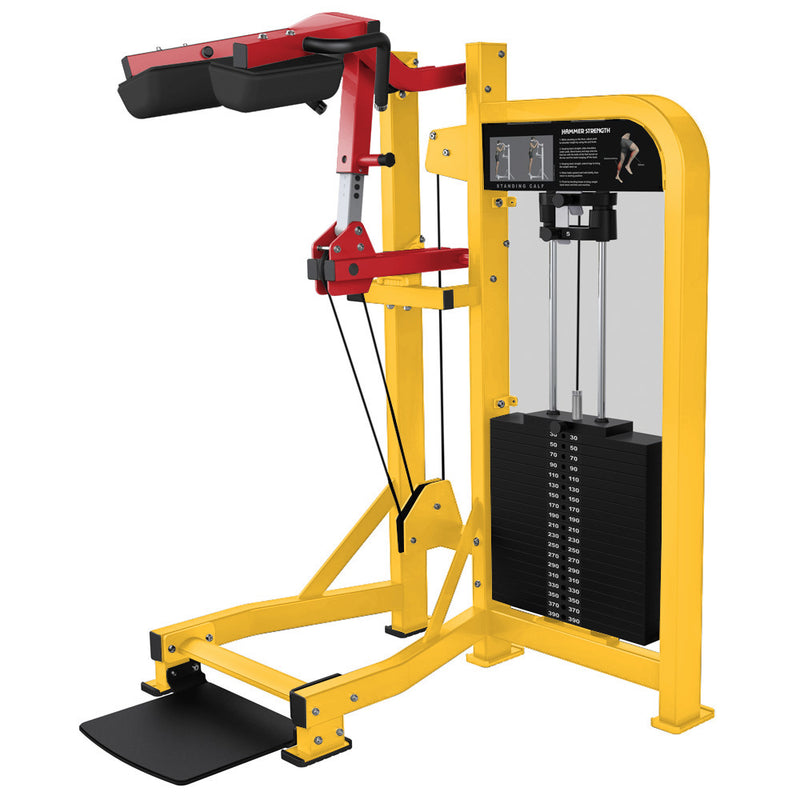 Hammer Strength Select Standing Calf in yellow and red.