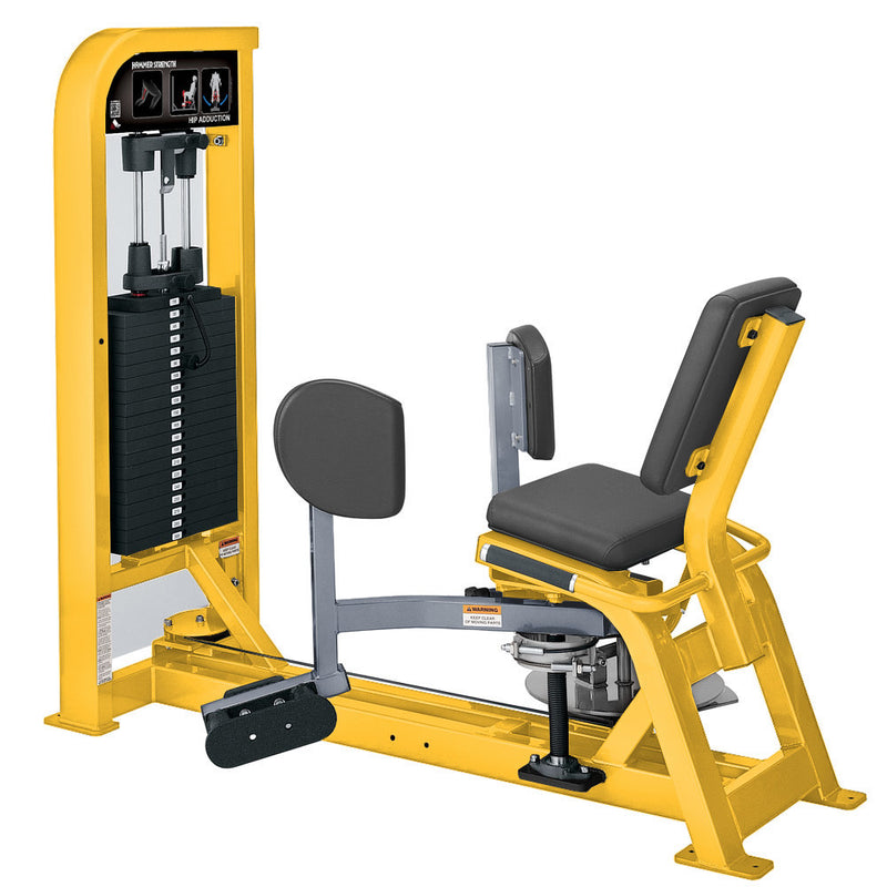 Hammer Strength Select Hip Adduction in yellow and ice blue metallic.