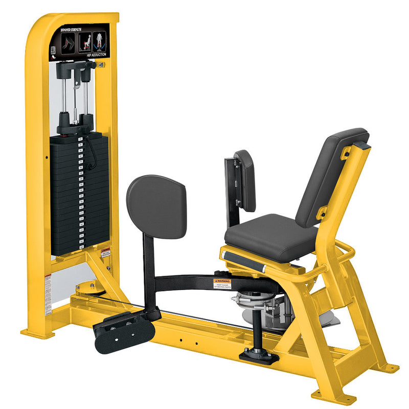 Hammer Strength Select Hip Adduction in yellow and black.